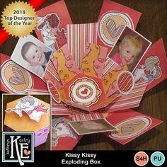 Digital Scrapbooking Kits   Kissy Kissy Exploding Box-(Kathryn)   Craftable - Printables, Decorative, Family, Friends, Holidays - Valentine's Day, Love   MyMemories