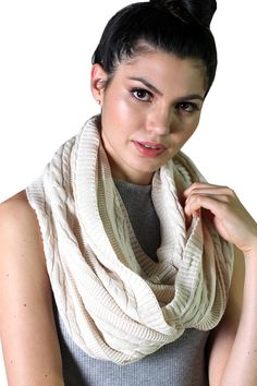 This luxurious infinity loop cable knit scarf is designed and knitted with lots of love and care, HANDMADE, amazing quality, you will LOVE it, we promise! 100% organic cotton scarf, classic cable knit design, pure, natural, super soft and luxurious. Non-toxic, non-itch, pesticide-free and Eco-friendly. Pure and 100% natural, NO harmful dyes & chemicals used EVER.  Trendy, classy and sophisticated, buttery soft natural organic cotton chunky knit scarf is party ready. Warm and cozy in fall,...