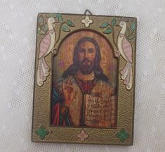 SALE Antique Religious Picture Jesus Christ Bronze Icon by Tesorus