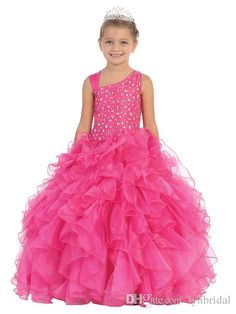 Beaded Puffy Coral Pageant Dress For Little Girls Long Ruffle Organza Kids Ball Gown Birthday Dress With Fixed Mesh Underskirt