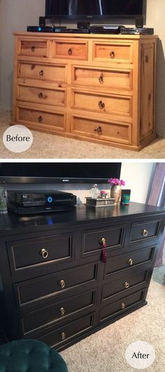 refinishing a dresser - black and gold -before and after
