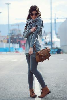 Grey cardigan, leggings