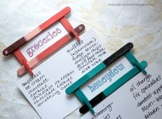 """DIY grocery and """"honeydew"""" list holder Fridge Magnet with popsicle sticks and mini clothespins (tutorial)"""