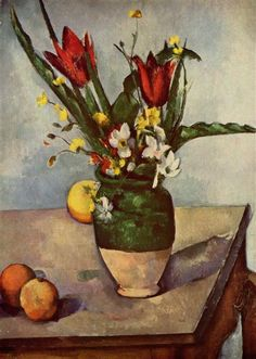 Still Life, Tulips and apples, 1894 by Paul Cezanne, Final period. Post-Impressionism. still life