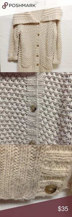 """Talbots tan crocheted button front cardigan Talbots tan crocheted button front cardigan. Heavy acrylic wool and alpaca blend. Has some pilling and a gray mark on the button seen in photo 3. Size XL. Measurements: chest:23.5"""" length: 31.5"""" Beautiful and comfy cozy. Talbots Sweaters Cardigans"""