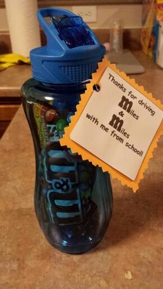 Bus drivers end of the year gift.Thank you for driving me M(miles) & M(miles) to school this year! Did this for DS's bus drivers last year. Bus Driver Appreciation, Teacher Appreciation Week, Employee Appreciation, Teacher Gifts, Bus Driver Gifts, School Bus Driver, School Treats, School Gifts, Just In Case