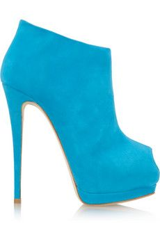 Giuseppe Zanotti - blue suede peep toe platform ankle boots