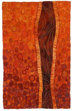 "Fiber wall hanging by Karen Kamenetzky entitled ""Inner Topography"" Color Naranja, Textile Fiber Art, Art Abstrait, Aboriginal Art, Fabric Art, Collage Art, Modern Art, Abstract Art, Lino Prints"