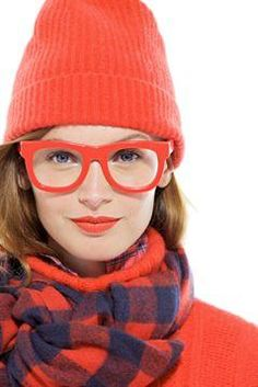 J.Crew Cambridge cable turtleneck sweater, cashmere buffalo check scarf & Super™ Ciccio eyeglasses.