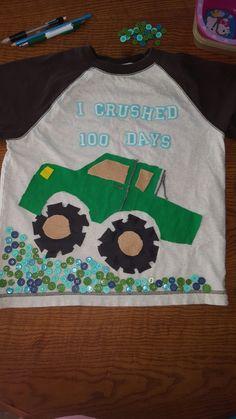 100th Day of School Shirt - easy monster truck