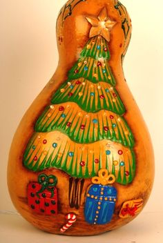 Christmas Tree with QuikWood presents.  Gourd art by Miriam Joy.