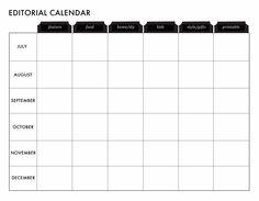 Free customizable blog editorial calendar printable