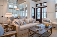 Take a peek inside this Florida beach vacation dream beach house. Florida beach house tour with great seaside style and coastal interiors. Beach House Tour, Dream Beach Houses, My Living Room, Home And Living, Living Area, Living Spaces, Piece A Vivre, Luxury Interior Design, Great Rooms
