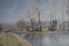 John bond original landscape oil Letheringsett Lake Holt Norfolk signed