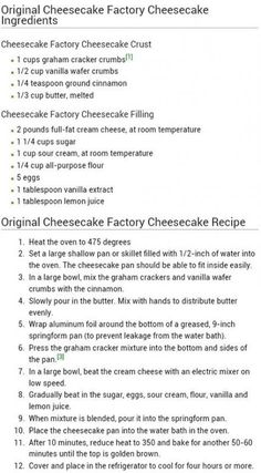 restaurant recipes 38 Ideas Cheese Cake Recipes Plain Sour Cream For 2019 The Cheesecake Factory, Plain Cheesecake, Cheesecake Factory Strawberry Cheesecake Recipe, Cheesecake Factory Birthday Cake, Cheesecake Factory Original Cheesecake Recipe, Strawberry Cheesecake Recipe Easy, Lemon Cheesecake Recipes, Homemade Cheesecake, Chocolate Cheesecake