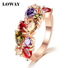 LOWAY Moda renkli Yüzükler Kadın Anillos Taşlı 18K Rose Altın Kaplama Düğün Parmak Ring Güzel Takı Bague JZ5900 (Çin (Anakara))
