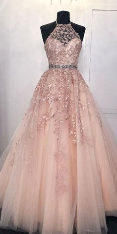 2020 Halter Beaded Long Tulle Appliques Prom Dresses Custom Made Long Evening Gowns Fashion Long School Dance Dresses Pagent Dresses Pagent Dresses, Cute Prom Dresses, Formal Dresses, School Dance Dresses, School Dances, Beaded Prom Dress, Long Evening Gowns, Prom Long, Get Dressed
