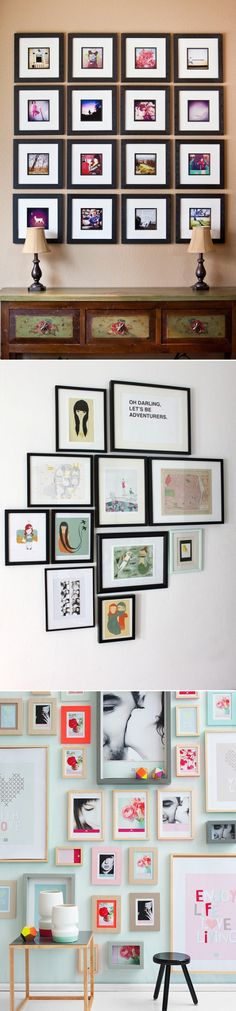 frames on the wall with black and white photos paired with paper and other accents to keep color with decor of room... LOVE THE LAST ONE!