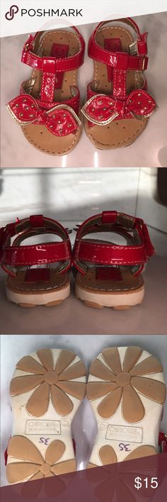 EUC red and gold girl Sandals These are in like new condition, worn once. Manmade materials with velcro closures. Shoes Sandals & Flip Flops