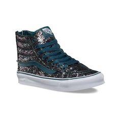 Vans Sk8-Hi Slim Zip ($85) ❤ liked on Polyvore featuring shoes, sneakers, casual footwear, casual shoes, black glitter sneakers, leather sneakers, skate trainers, black hi top sneakers and black high top sneakers