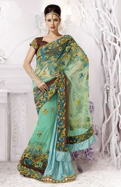 Marvelous Moss Green and Sky Blue Fusion Saree