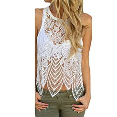 Special Offer: $6.11 amazon.com Bocaoying Women's Sexy Lace Vest Tank Top See Through Sleeveless Blouse Top Premium quality sleeveless tank top Machine washable, comfortable and soft Unique style, you deserve to have one Package includes: 1 * Women Tank Top Note:? 1.All dimensions are...