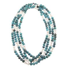@Overstock - This endless necklace showcases round turquoise beads with white freshwater pearls. The jewelry piece is accented with 14-karat yellow gold beads.http://www.overstock.com/Jewelry-Watches/DaVonna-White-Freshwater-Pearl-and-Turquoise-Bead-80-inch-Endless-Necklace-7-7.5-mm/5128990/product.html?CID=214117 $99.99