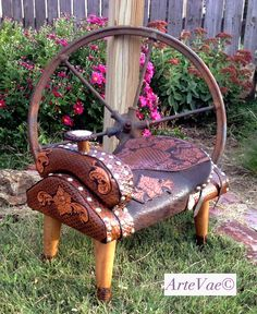Hand tooled leather saddle stool by ArteVae