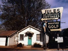 A broken-down little 1950s place next to our weird motel in Clearlake, CA......the cottages are very cute, but quite unused! Love the vintage signs.