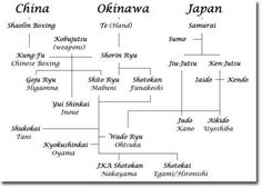 A brief lineage of karate systems.