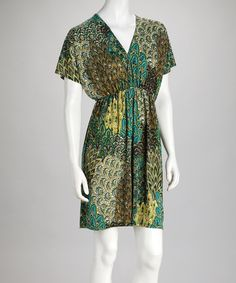 Take a look at this Green Cape-Sleeve Dress by Papillon Imports on #zulily today!