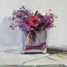 Purple Staff and Roses Bouquet Archival Print, Reproduction of Amy Brnger Original Oil Painting Abstract Flowers, Abstract Art, Still Life Flowers, Beautiful Flowers Wallpapers, Still Life Art, Arte Floral, Beautiful Paintings, Landscape Art, Painting Inspiration