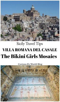 """Near a pretty little town in Sicily named Piazza Armerina lies an ancient Roman hunting lodge, home to the largest surviving collection of Roman mosaics. Villa Romana del Casale has 38,000 square feet of mosaic floors, perfectly intact and incredibly beautiful, these mosaics include the world famous """"Bikini Girls""""."""