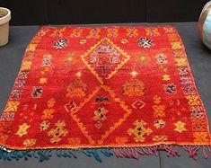 Vintage Old red berber rug 4x5 moroccan BERBER rug Moroccan Old Authentic Berber rug