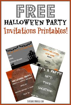 Hosting a fun filled Halloween Party this year? Print our FREE Halloween Party Invitations today! Four different fun styles to choose from! Halloween Party Games, Halloween Party Invitations, Kids Party Games, Easy Halloween, Halloween 2016, Halloween Birthday, Halloween Stuff, Halloween Treats, Halloween Decorations