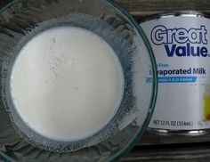 MAKE YOUR OWN EVAPORATED MILK-  Makes 8oz. ( To make 12 oz. make 1 full + another 1/2 of this recipe). 2/3 c powdered milk,3/4c water,2 tbs. melted butter. Mix well.  For fat free...eliminate butter.
