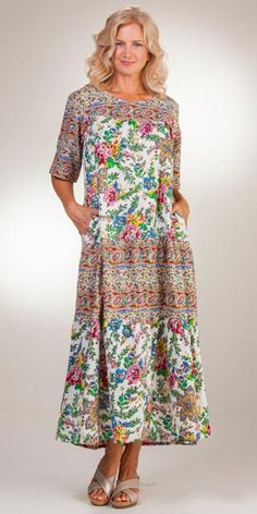 Cotton La Cera Short Sleeve Long Dress in Ivory Tapestry (Medium White/Pink/Green/Blue Multi) Long Ivory Dress, Long Sleeve Short Dress, Ivory Dresses, Tapestry Online, House Dress, Pink And Green, Elegant Styles, Caftans, Couture