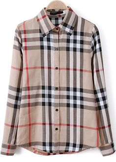 Apricot Lapel Long Sleeve Plaid Loose Blouse -SheIn(Sheinside)