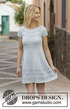Knitted dress with round yoke in DROPS Muskat. The piece is worked with lace and tulip pattern. Sizes S - XXXL. Design robe Moonshine Dance / DROPS - Free knitting patterns by DROPS Design Drops Design, Lace Patterns, Dress Patterns, Crochet Patterns, Free Knitting Patterns For Women, Dress Hats, Summer Skirts, Summer Dresses, Knit Dress
