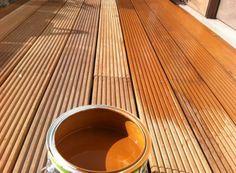 Decking Oils (006 Bangkirai Oil) onto hardwood decking by Peter Donegan Landscaping in Dublin, Ireland.