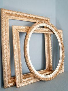 Set of 3 Metallic Gold Vintage Large Empty Frames- wedding photo booth props, bridal shower, baby shower, nursery ornate oval frame wall art