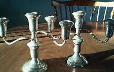 Pair Of Reed And Barton Sterling Silver Changeable Candelabras