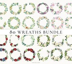 80 Floral Wreaths Watercolor Wreath Clip Art Greenery Frame | Etsy