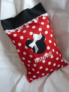 love the eyelet ruffle on this Minnie pillowcase