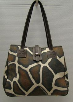 Dooney Bourke Giraffe Canvas Animal Print Brown Leather Trim Shoulder Handbag