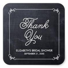 ELEGANT CHALKBOARD BRIDAL SHOWER FAVOR STICKERS
