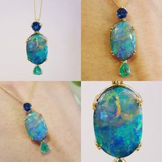 ac.silver Vintage 1980s pendant set with boulder opal and little sapphire and emerald accents all set in 18 ct yellow gold