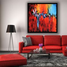 Extra Large Palette Knife Abstract Contemporary Painting On Red Couch Living Room, Interior Design Instagram, Back Painting, Colourful Living Room, Abstract Canvas Art, Blue Walls, Contemporary Paintings, Wall Art Decor, Modern Art