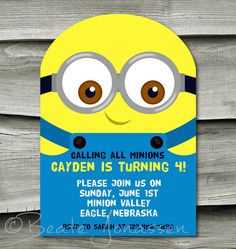 Printable Despicable Me Inspired Birthday by CuteMemories on Etsy, $11.00