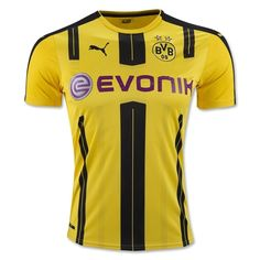 e6b60977e The new Puma Borussia Dortmund Home Jersey features the traditional colors  with a black embroidered PUMA
